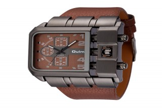 UM12G Oulm Casual Leather Strap Sports Watch