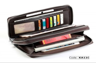 KA11C Baellerry Double Zipper Long Business Wallet for Men